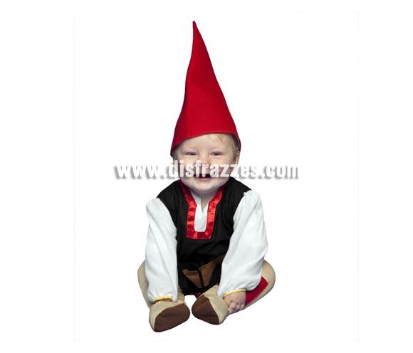 Disfraz de Gnomo para bebés de 6 a 12 meses. Incluye mono y gorro. También sirve como disfraz de Enanito, Duende o Elfo para bebés y es perfecto para acompañar a Papa Noel en Navidad.