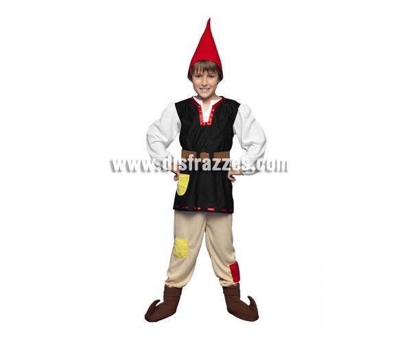 Disfraz de Gnomo para niños de 7 a 9 años. Incluye camisa, pantalón, gorro, cinturón y cubrebotas. También sirve como disfraz de Enanito, Duende o Elfo para niños y es perfecto para acompañar a Papa Noel en Navidad.