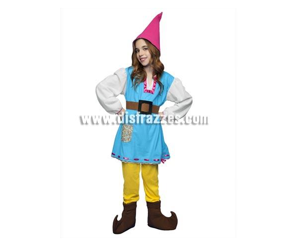 Disfraz de Gnoma para niñas de 5 a 6 años. Incluye camisa, pantalón, gorro, cinturón y cubrebotas. También sirve como disfraz de Enanita, Duende o Elfa para niñas y es perfecto para acompañar a Papa Noel en Navidad.