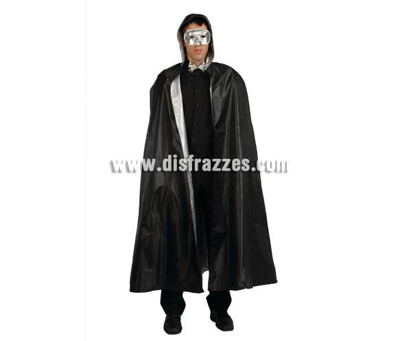 Capa de Mago negra con capucha 140 cm. También sirve como capa de Terror para Halloween o como capa Veneciana.