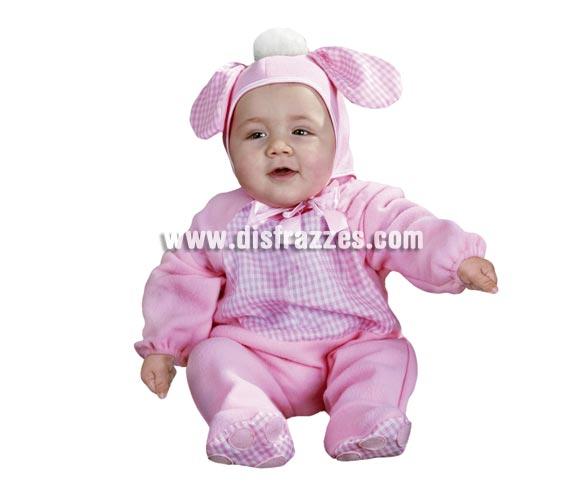 Disfraz barato de Perrito Rosa Bebés para Carnaval. Talla de 6 a 12 meses. Incluye mono y gorrito.