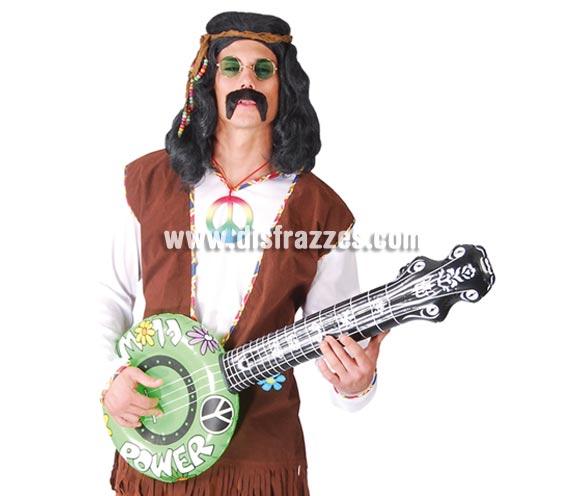Bajo, Banjo o Banyo hinchable. Éste tipo de guitarra es ideal como complemento de cualquier disfraz de Hippie, también de Vaquero, etc.