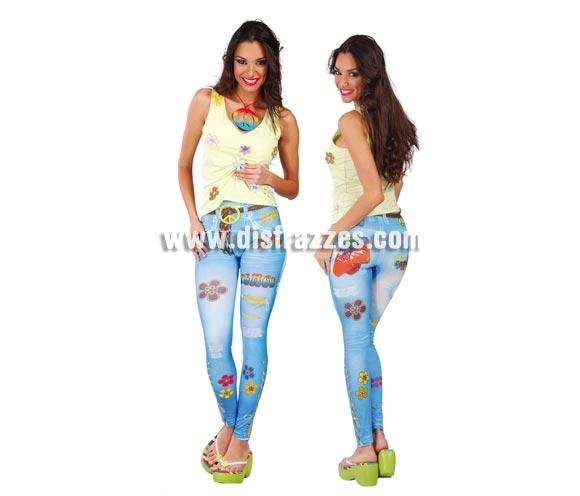 Pantalones leggins Hippie para mujer. Talla standar válida hasta la 42/44. Incluye los leggins. Original forma de disfrazarse, con éstos leggins impresos irás disfrazada sin darte cuenta.