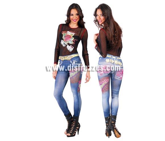Pantalones leggins Hip Hop para mujer. Talla standar válida hasta la 42/44. Incluye los leggins. Original forma de disfrazarse, con éstos leggins impresos irás disfrazada sin darte cuenta.