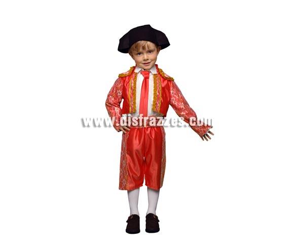 Disfraz de Torero niño Económico. Talla de 3 a 4 años. Incluye taleguilla, corbatín, cinturón, pantalón y montera de tela. Ole, ole y ole.