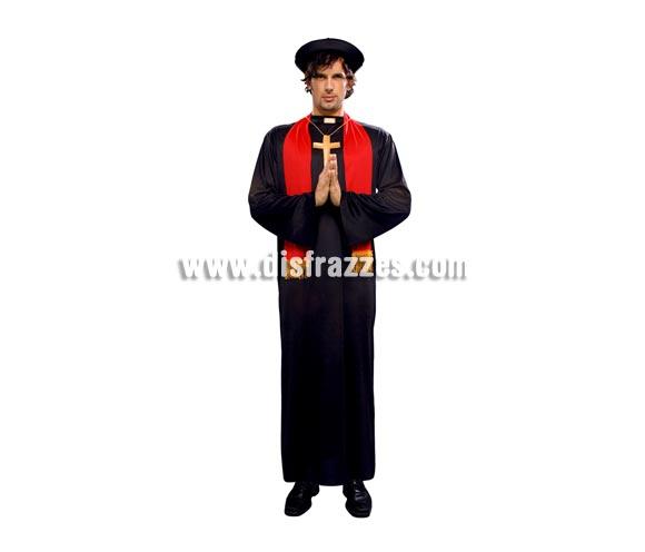 Disfraz de Cura adulto económico. Talla Standar M-L 52/54. Incluye gorro, túnica, estola y medallón. Disfraz de cura de la Iglesia con estola.
