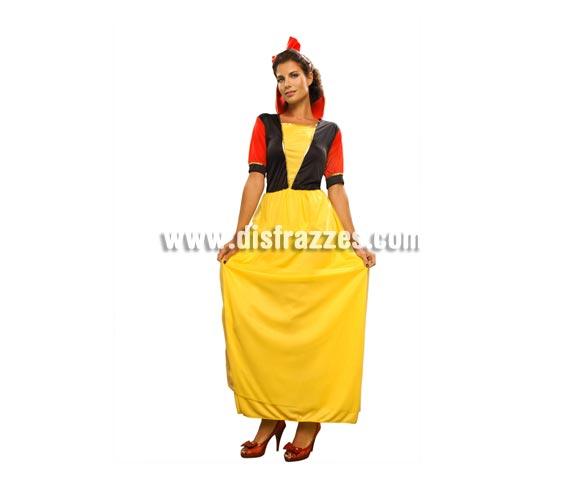 Disfraz de Blancanieves barato para mujer. Talla standar M-L = 38/42. Incluye vestido y diadema. Disfraz perfecto para hacer teatros o para que los peques se acerquen a saludarte.
