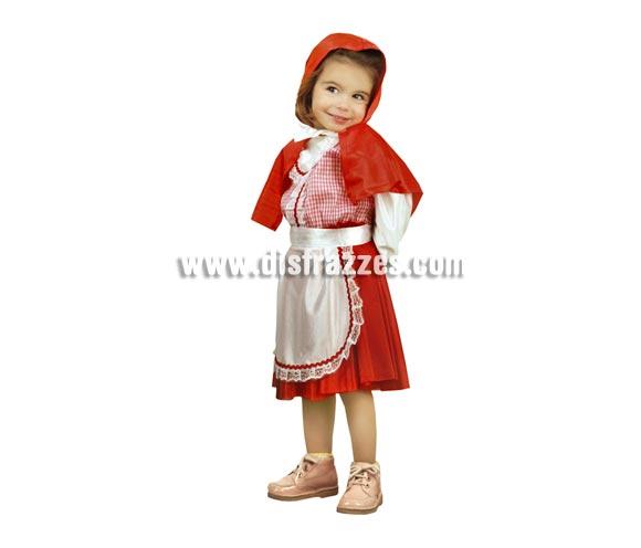 Disfraz super barato de Caperucita Roja para niñas de 3 a 4 años. Incluye vestido, delantal y caperuza.