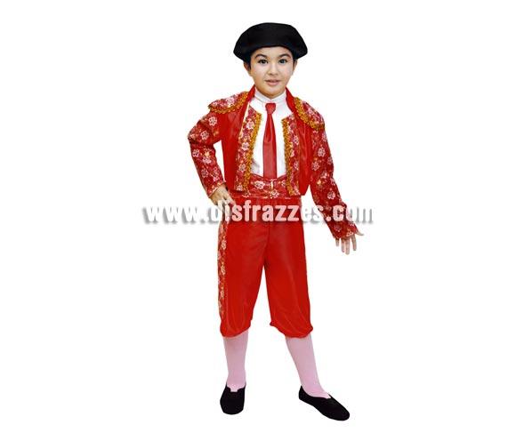 Disfraz barato de Torero infantil para Carnaval.  Talla de 7 a 9 años. Incluye pantalón, chaqueta, fajín, corbata y montera.