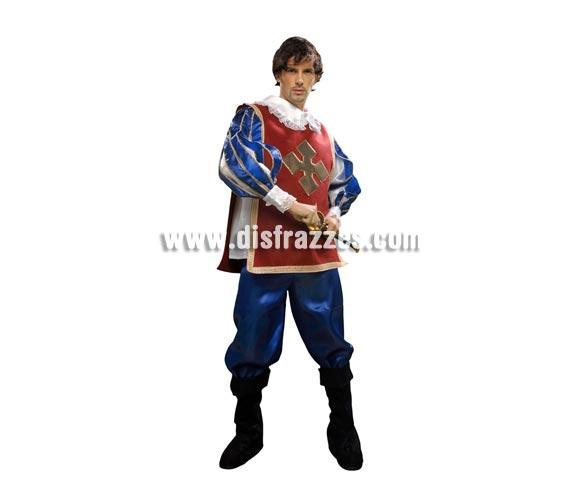 Disfraz de Mosquetero adulto para hombre. Talla Standar M-L 52/54. Incluye camisa, pantalón, cubrebotas y peto. Espada NO incluida, podrás verla en la sección Complementos.