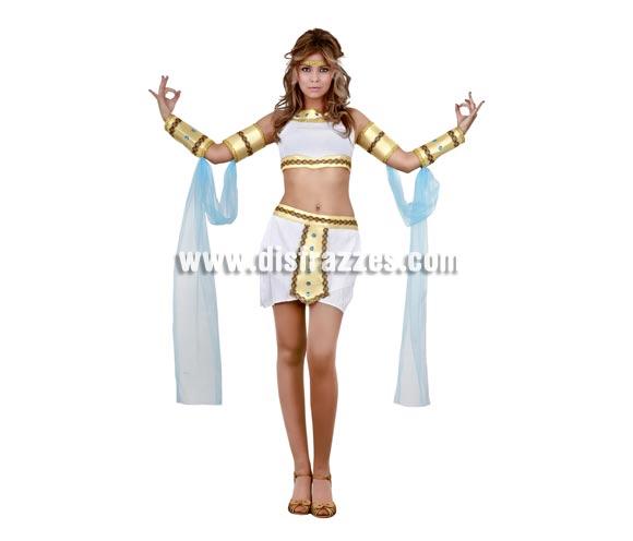 Disfraz de Egipcia Sexy para mujer. Talla standar M-L = 38/42. Incluye top, falda, cinta de la cabeza y 2 brazaletes y 2 muñequeras con gasa.