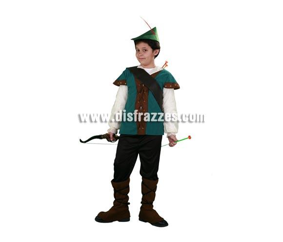 Disfraz de Robin Hood infantil. Talla de 4 a 6 años. Incluye sombrero, casaca, cubrebotas, pantalón y bandolera. Disfraz de Robin de los Bosques para niño.
