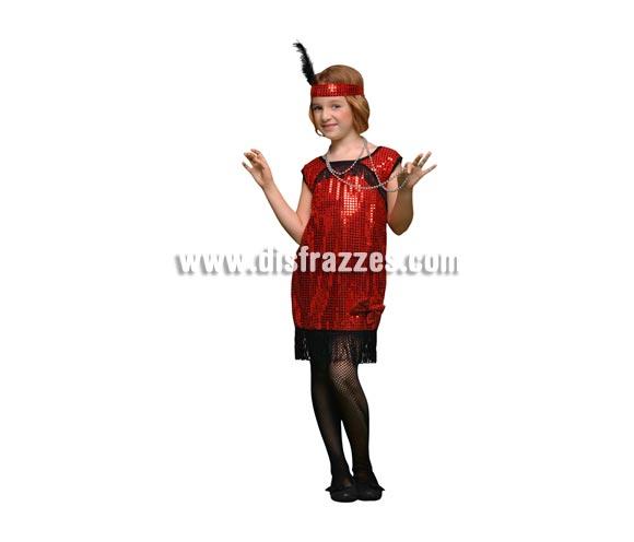 Disfraz de Charlestón rojo niña para Carnavales. Talla de 7 a 9 años. Incluye cinta de la cabeza y vestido.