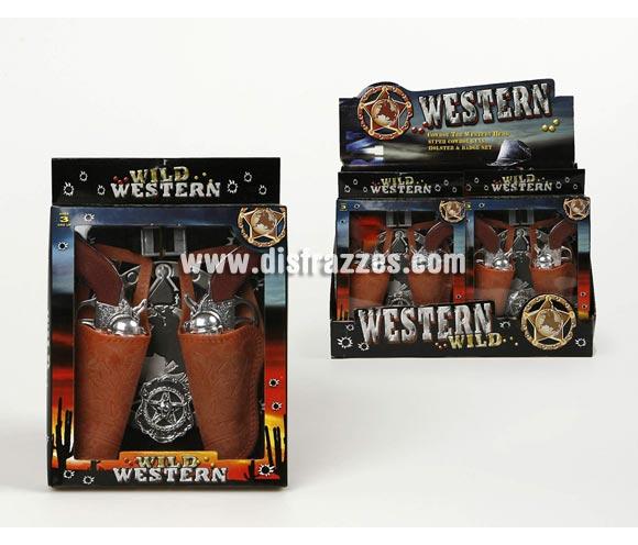 Set de 2 Pistolas con cartucheras y Accesorios del Oeste. Ideal para tu disfraz de Vaquero o Pistolero.