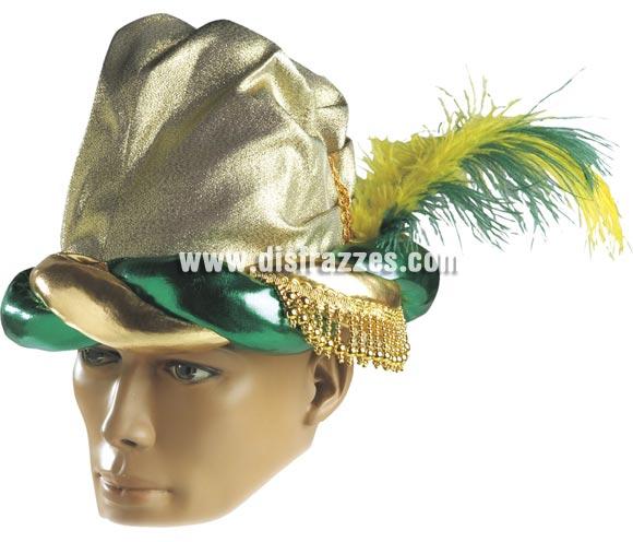 Turbante lujo oro. Perfecto también para los trajes de Paje Real de los Reyes Magos.