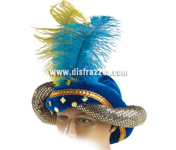 Turbante lujo azul para adultos.