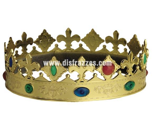Corona de Rey Mago oro con piedras. Talla de adultos. Perfecta también para los disfraces de Rey Medieval.