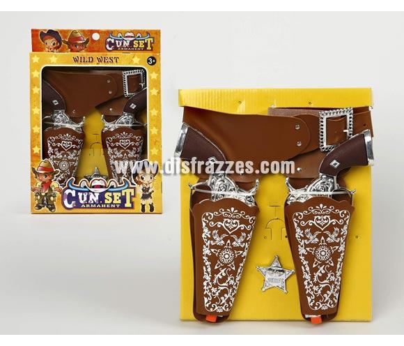Set de 2 Pistolas Vaquero con cartucheras y estrella de Sheriff.