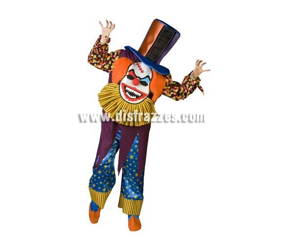 Disfraz de Payaso Terror Especial para adultos. Talla de hombre (50) y de mujer (44). Incluye disfraz completo como en la imagen. Con éste disfraz no te ven la cara ya que ves a través de una rejilla que hay en el sombrero y es de un diseño muy novedoso y original. ¡¡Llamarás la atención, seguro!!