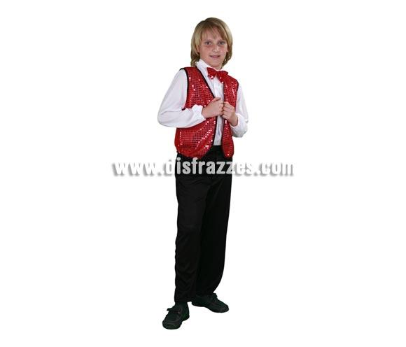 Disfraz de Charlestón rojo para niños de 7 a 9 años. Incluye camisa con pajarita, chaleco y pantalones. También sirve como disfraz de Cabaretero, Crupier o Croupier para niños.