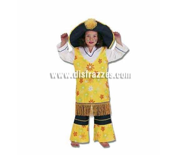 Disfraz de hippie para niñas de 4 a 6 años. Incluye disfraz completo.