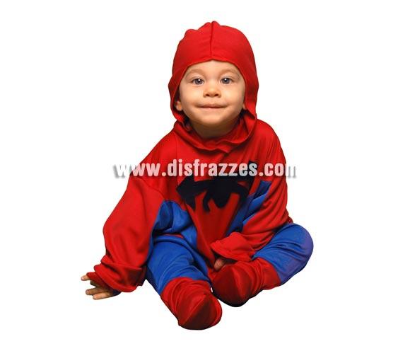 Disfraz super barato de Hombre Araña para bebés de 6 a 12 meses. Incluye mono y capucha. Con éste disfraz tu bebé será todo un Superhéroe como Spiderman.