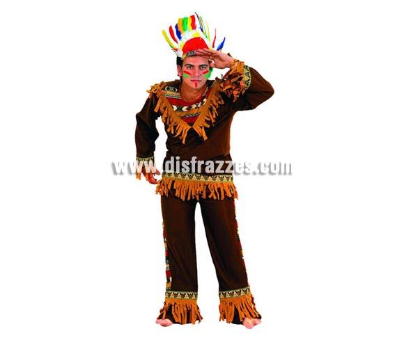Disfraz barato de indio marrón para hombre. Talla 2 ó talla standar M-L 52/54. Incluye pantalón, camisa y penacho.