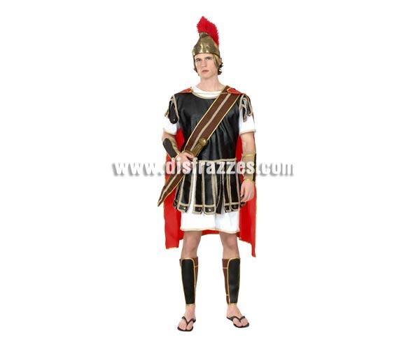 Disfraz de Centurión Adulto Económico. Talla standar M-L 52/54. Incluye sombrero o casco de tela, capa, túnica, coraza, fajín y protector de brazos y piernas. Disfraz de Centurión Romano para hombre, ideal para representaciones en Navidad.
