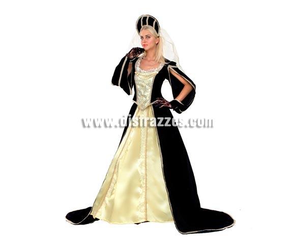 Disfraz de Princesa Medieval para mujer. Talla standar M-L 38/42. Incluye tocado, blusa, falda y falda con aro. Bonito traje de excelente relación calidad-precio.