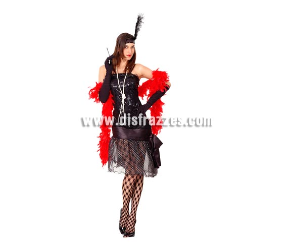 Disfraz barato de Cabaret para mujer. Talla standar M-L = 38/42. Incluye vestido y tocado de la cabeza. Medias y boa NO incluidas podrás verlo en la sección de Complementos. Éste disfraz de Charlestón para chicas está muy bien de precio y es muy bonito.