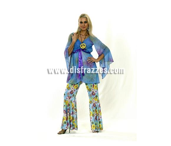 Disfraz barato de Hippie para mujer. Talla standar M-L = 38/42. Incluye blusa, collar símbolo de la Paz y pantalón. Pendientes NO incluidos. Paz y Amor.