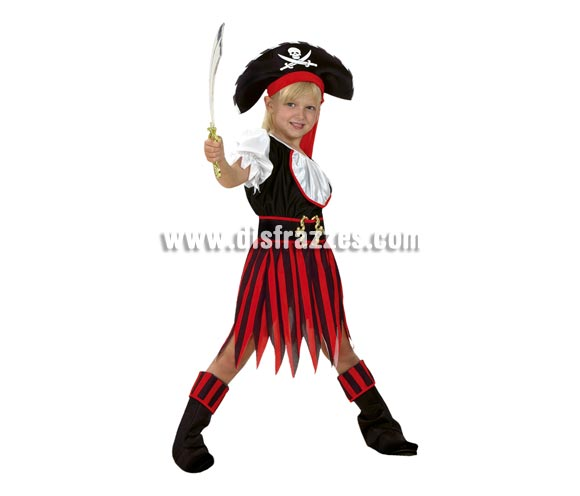Disfraz barato de Pirata Niña Rojo y Negro para niña. Talla de 5 a 6 años. Incluye camisa, falda, cinturón, cubrebotas y sombrero. Espada NO incluida, podrás verla en la sección de Complementos.
