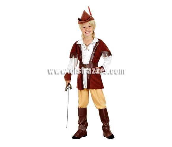 Disfraz de Robin Hood económico talla de 5 a 6 años. Incluye camisa, pantalón, cinturón, cubrebotas y sombrero. Espada NO incluida, podrás verla en la sección de Complementos.