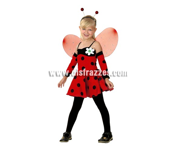 Disfraz barato de Hada Mariquita infantil para Carnavales. Talla de 5 a 6 años. Incluye vestido, alas, tocado y manguitos.