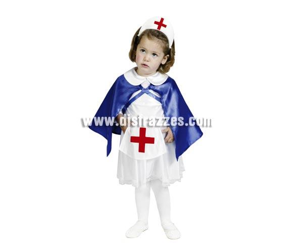 Disfraz de Enfermera infantil barato para Carnavales. Talla de 3 a 4 años. Incluye cofia, vestido, delantal y capa.