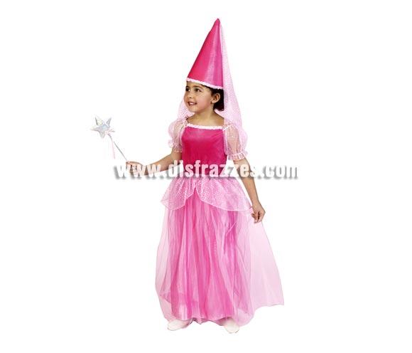 Disfraz de Hada Rosa infantil. Talla de 7 a 9 años. Incluye sombrero y vestido. Disfraz de Princesa Rosa para niña.