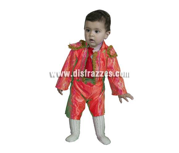 Disfraz de Torero niño Económico. Talla de 1 a 2 años. Incluye taleguilla, corbatín, cinturón, pantalón y montera de tela. Ole, ole y ole.