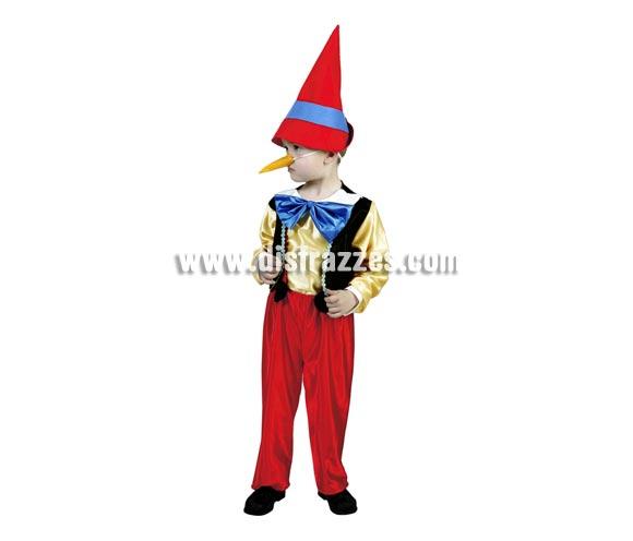 Disfraz de Pinocho para niños de 3 a 4 años. Incluye sombrero, nariz, pajarita, camisa con chaleco, pantalón y tirantes. Disfraz super barato .