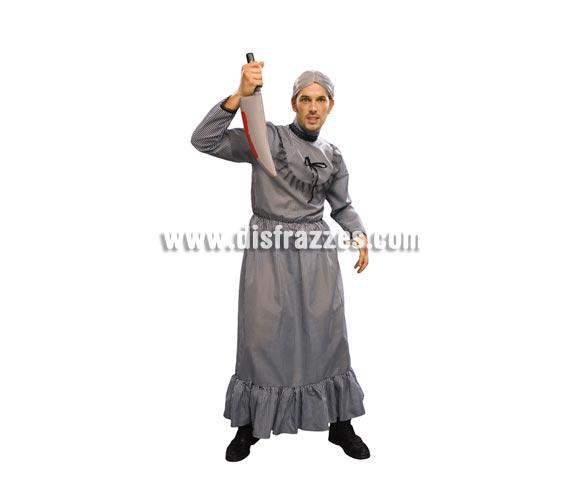 Disfraz de Anciana asesina adulto para Halloween. Talla Standar M-L = 52/54. Disfraz de Halloween que incluye el vestido. Cuchillo y peluca NO incluidos, podrás verlos en la sección de Complementos. También podría servir como disfraz de Vieja o Abuela de Caperucita.