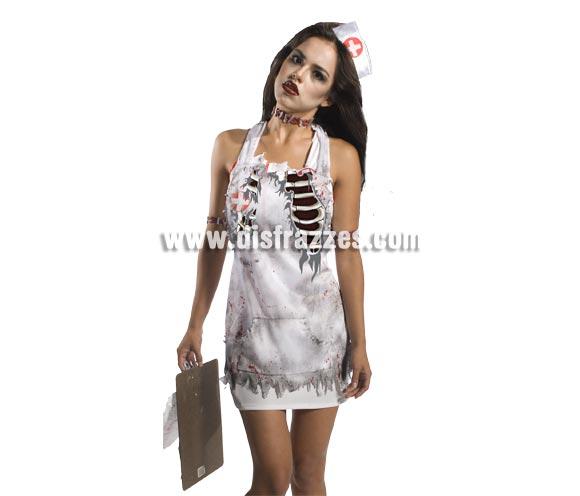 Delantal Enfermera Zombies para Halloween. Incluye el delantal.