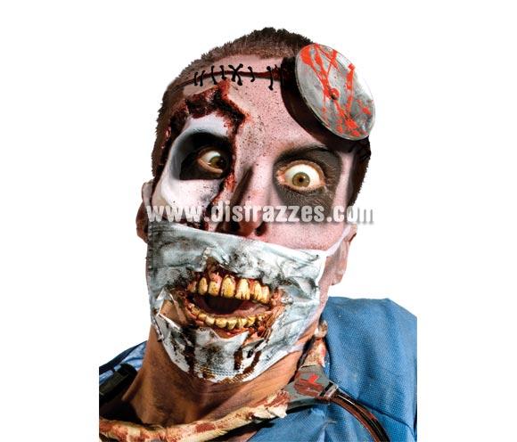 Máscarilla de Doctor con dientes Zombies Halloween. Incluye la máscarilla de doctor con los dienes, el resto de la cara de la imagen está maquillada profesionalmente.