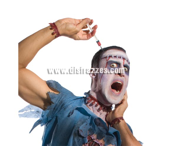 Diadema con jeringa o jeringuilla Zombies para Halloween.