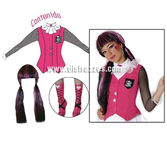 Disfraz de Dracalaura de las MONSTER HIGH para nias. Disponible en varias tallas. Contiene top, cubrebotas y peluca. Disfraz Exclusivo y de licencia perfecto como regalo. Presentacin en percha y bolsa.