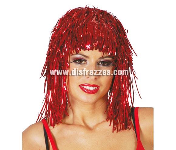 Peluca rojo brillante de lumalina. Ideal para Nochevieja.