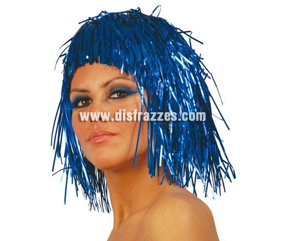 Peluca azul brillante de lumalina. Ideal para Nochevieja.