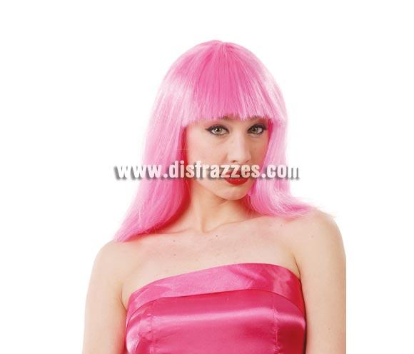 Peluca melena con flequillo rosa. Perfecta para llamar la atención por ejemplo en una Despedida de Soltera.