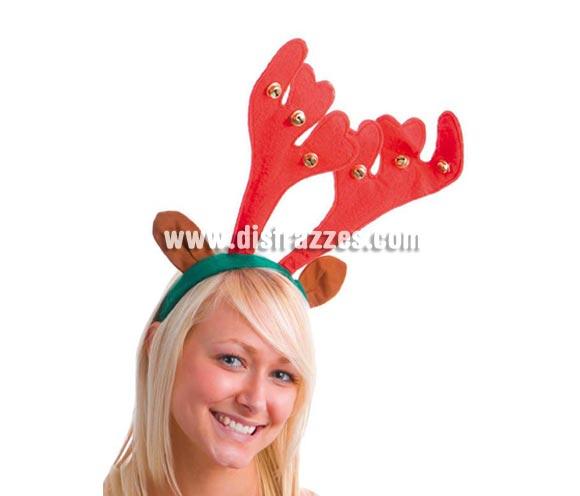 Diadema cuernos de Reno con cascabeles. Perfecto para Navidad.