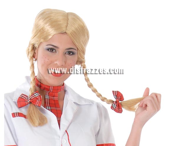 Peluca rubia con dos trenzas perfecta para disfraz de Colegiala y Tirolesa.