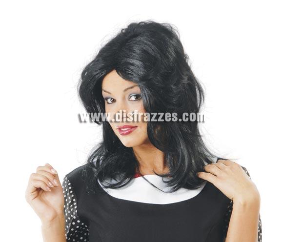 Peluca Martina negra - Peluca años 70-80. Envase en caja.