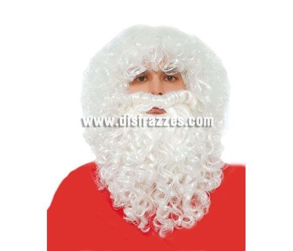 Peluca y barba de Papa Noel o Rey Melchor. También sirve como Barba de Brujo para Halloween.